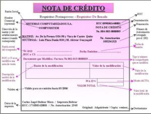 Nota de crédito ejemplo
